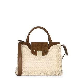 Jimmy Choo Rebel  Frayed Raffia Suede Bag